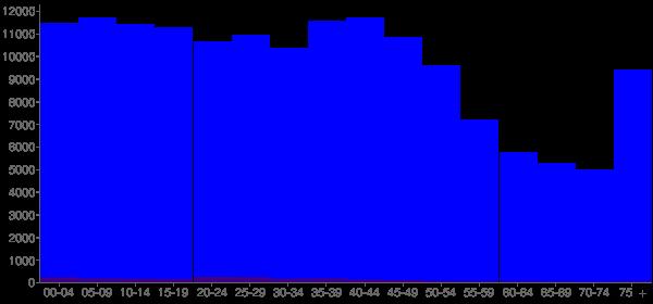 Graph: Population by Age and Hispanic or Latino Origin, 2000 Census - Bibb County, Georgia - Census Viewer