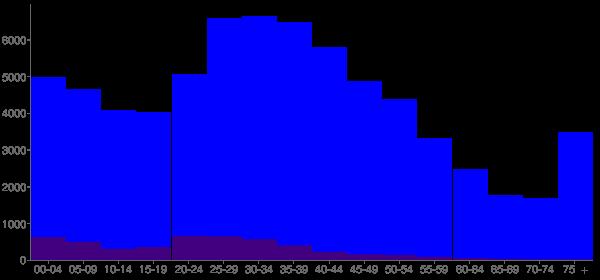 Graph: Population by Age and Hispanic or Latino Origin, 2000 Census - Renton, Washington - Census Viewer