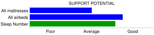 sleep number bed support chart
