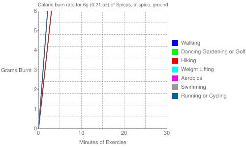 Exercise profile for 6g (0.21 oz) of Spices, allspice, ground