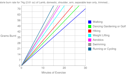 "Exercise profile for 74g (2.61 oz) of Lamb, domestic, shoulder, arm, separable lean only, trimmed to 1/4"" fat, choice, cooked, broiled"