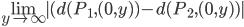 \underset{y\rightarrow \infty }{\lim }|(d(P_{1},(0,y))-d(P_{2},(0,y))|