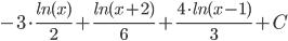 chart?cht=tx&chl=-3%5Ccdot%20%5Cfrac%7Bln(x)%7D%7B2%7D%2B%5Cfrac%7Bln(x%2B2)%7D%7B6%7D%2B%5Cfrac%7B4%5Ccdot%20ln(x-1)%7D%7B3%7D%20%2B%20C