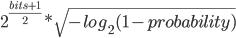2^{\frac{bits + 1}{2}} * \sqrt{-log_2(1 - probability)}