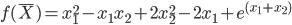 https://chart.googleapis.com/chart?cht=tx&chl=f(%5Cbar%20X)%20%3D%20x_%7B1%7D%5E%7B2%7D%20-%20x_%7B1%7Dx_%7B2%7D%20%2B%202x_%7B2%7D%5E%7B2%7D%20-%202x_%7B1%7D%20%2B%20e%5E%7B(x_%7B1%7D%20%2B%20x_%7B2%7D)%7D